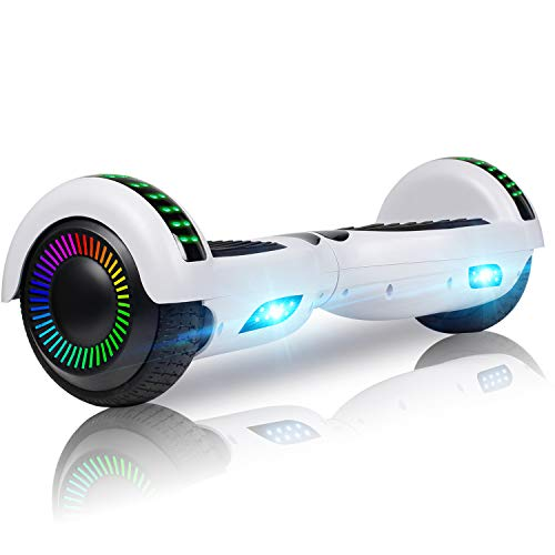 "UNI-SUN 6.5"" Hoverboard for Kids, Two Wheel Electric Scooter, Self Balancing Hoverboard with Bluetooth and LED Lights for Adults, UL 2272 Certified Hover Board(Ultimate White)"