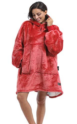 Kato Tirrinia Übergroßes Hoodie-Decken-Sweatshirt, superweicher, Warmer, bequemer Sherpa-Riesenpullover mit großer Fronttasche, für Erwachsene Männer Frauen Teenager Frau