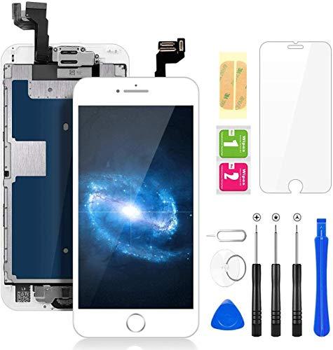 FLYLINKTECH Für iPhone 6 Display Weiß, Ersatz Für LCD Touchscreen Digitizer vormontiert mit Home Button, Hörmuschel, Frontkamera Reparaturset Komplett Ersatz Bildschirm mit Werkzeuge