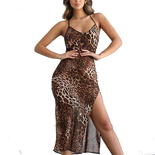 Promworld Camisa de Mujer Larga Elegante Camisas a Cuadros,Vestido Halter-Leopard Print_S,A-Line sin Espalda...