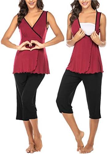 Ekouaer Womens Maternity Nursing Pajamas Shorts Set Soft Pregnancy Breastfeeding Sleepwear Sleeveless product image