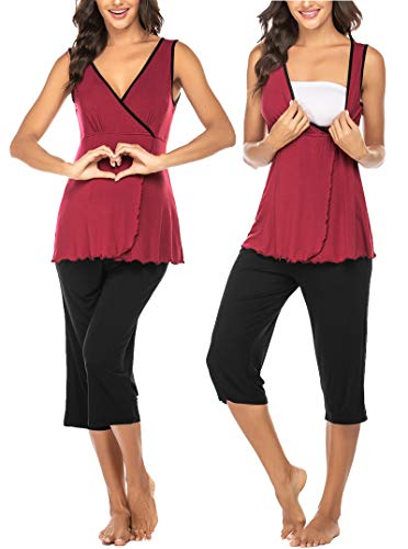 Ekouaer Womens Maternity Nursing Pajamas Shorts Set Soft Pregnancy Breastfeeding Sleepwear Sleeveless Tops