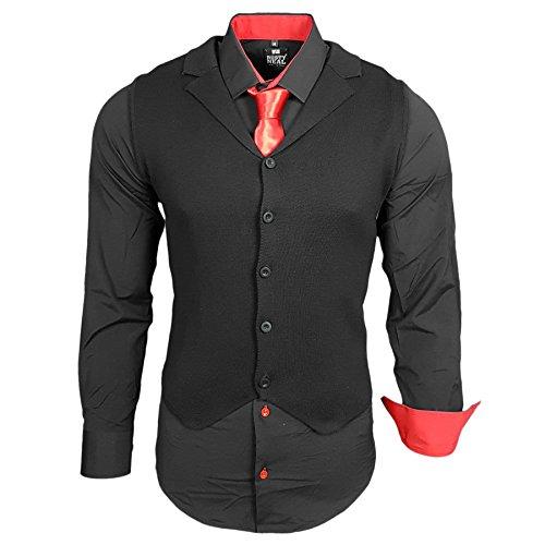 Business Herren Hemd Weste Krawatte Set Anzug Smoking Sakko Herrenanzug Slim fit Hemden Freizeit Hochzeit Hemden B-40-444, Größe:3XL, Farbe:Schwarz/Rot