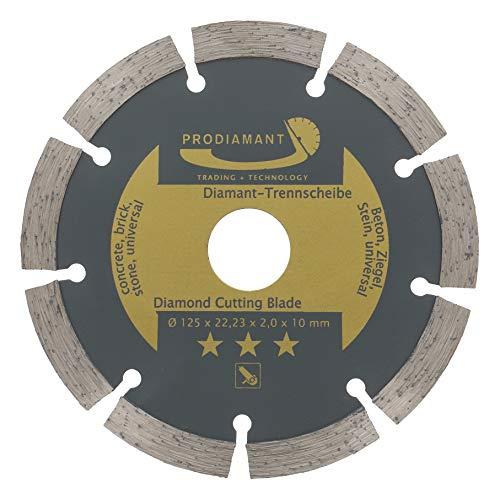 PRODIAMANT Disco de corte de diamante 125 mm para hormigón, piedra, ladrillo, universal, para cortar en seco y húmedo, Dorado