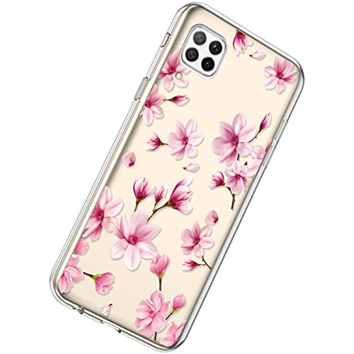 Herbests Kompatibel mit Huawei P40 Lite Hülle Dünne Transparent TPU Schutzhülle Crystal Clear Silikon Stoßfest Hülle Durchsichtig Handyhülle mit Süße Niedlich Muster,Rosa Pfirsichblüten