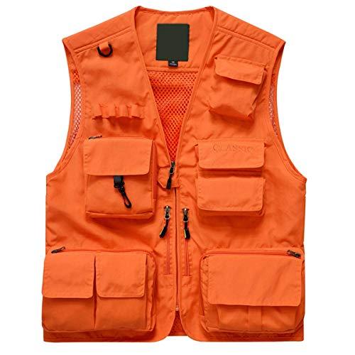 Memoryee Trabajo de los Hombres Bolsillos múltiples Ligero Chaleco de Pesca para Viajes al Aire Libre Chalecos Transpirables/Naranja/XXL