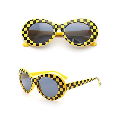 JINGRU Retro Clout BrilleSonnenbrilleDamen/HerrenKurt Cobain Sonnenbrille Verspiegelte Brille für männliche Mosaikbrillen UV400