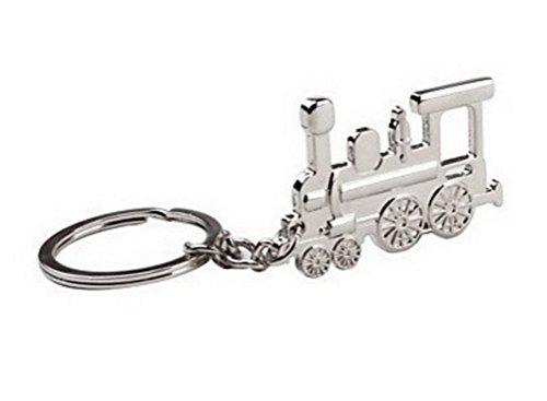 Schlüsselanhänger in Zugform, Lokomotive, silberfarbener verchromter Stahl