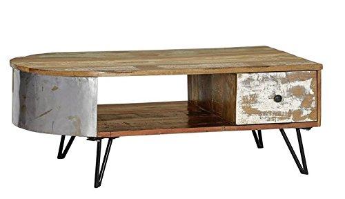 MASSIVMOEBEL24.DE Table Basse 120x60cm - Bois Massif recyclé laqué (Multicolore) - Style Urbain - Liverpool #34