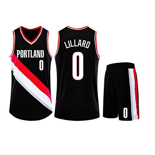 POAA Damian Lillard 0 Blazers Basketbal Jersey, Mouwloos Tank Top Zomer Shorts Student Competitie Trainingskleding