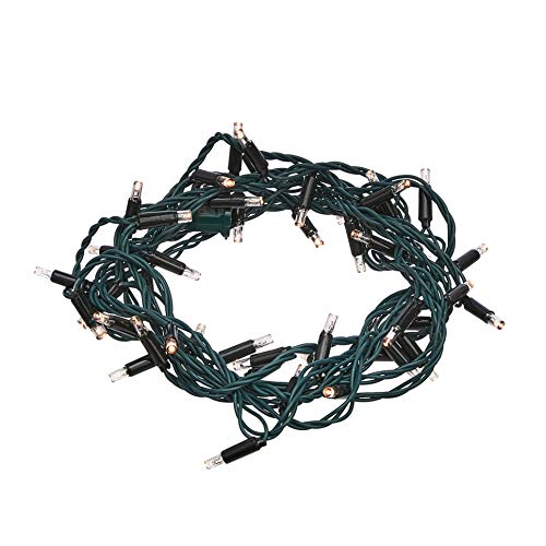 AmazonBasics 50 LED Commercial Grade Outdoor Christmas String Lights - Green Rope, Warm White LED, 16-Foot