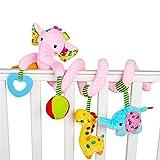 RAILONCH Cadena en espiral de actividad, león, elefante, juguete en espiral para sentirse y agarrar para cochecitos, para bebés y niños pequeños a partir de 0 meses (elefante rosa)