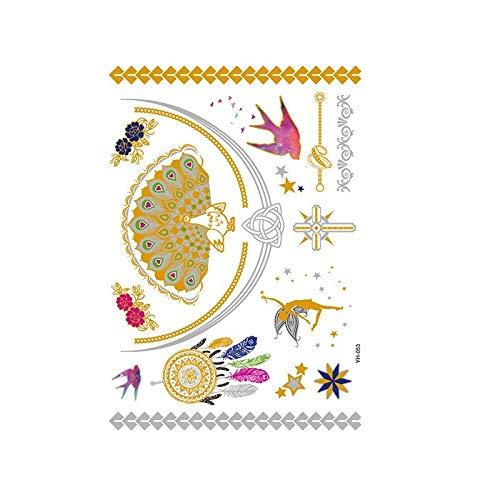Autocollants de tatouage bronzage rétro autocollants de tatouage imperméables ensemble autocollants d'impression de couleur argent chaud-YH-053_148 * 210MM