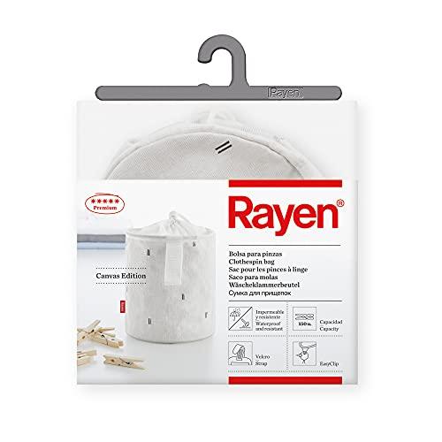 Rayen   Bolsa para Pinzas   Impermeable y Resistente   Gama Premium   Capacidad para 150 Pinzas de la Ropa   Cuenta con una Cuerda y Velcro para asegurar el Cierre   Dimensiones 18 x 15 cm
