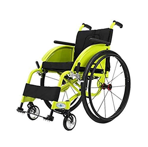 Wheelchair Folding Transport with Aluminum Alloy Ultra Light Aluminum Alloy Quick Release Rear Wheel Shock Absorption Trolley Manual Transport for Elderly Disabled.