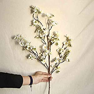 38.18inch Artificial Cherry Peach Blossom Flower Home Decorations Handmade Fake Silk Flower Party Floral Decor Multicolor Romantic Beautiful Wedding Party Adornment Perfect Festival Gifts (A)