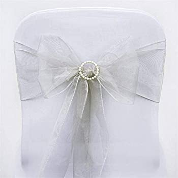Efavormart 25pc x Wholesale Sheer Organza Chair Sashes Tie Bows for Chairs -Catering Wedding Decoration - Silver