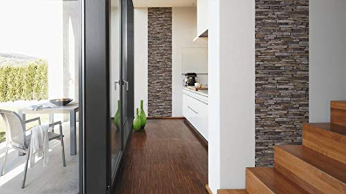Livingwalls selbstklebendes pop.up Panel 3D in Stein Optik fotorealistisch Naturstein 2,50 m x 0,52 m Creme Made in Germany 955721 95572-1, Braun, Hellbraun, Beige