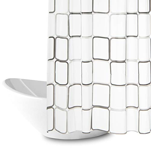 Duschvorhang, Anti-Schimmel Wasserdichter 180x200cm Waschbar Anti-Bakteriell Stoff Polyester Badewanne Vorhang mit 12 Duschvorhängeringen, Weiß Transparent Duschvorhang