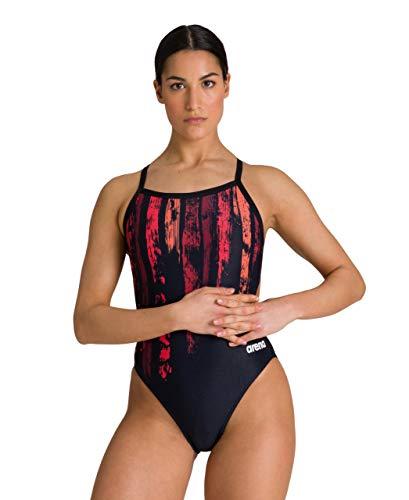 Arena - Costume Intero da Donna con Stampa Standard Challenge Back, Motivo a Righe, Colore Nero/Rosso, 32