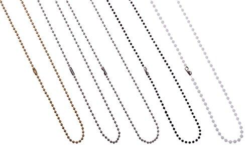 10 x Karteo® Kugelketten | Ketten aus Kugelelementen silber | mit Klemmverschluss | Kette für Anhänger | Kugelkettchen 90 cm lang | ACHTUNG: kein Kinderspielzeug- verschluckbare Kleinteile