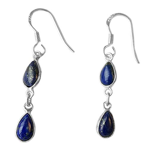 Bijoux et Objets - Pendientes lapislázuli, plata maciza 925 - Tamaño de piedra 5x8mm