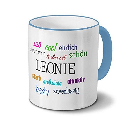 printplanet Tasse mit Namen Leonie - Positive Eigenschaften von Leonie - Namenstasse, Kaffeebecher, Mug, Becher, Kaffeetasse - Farbe Hellblau
