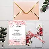 biglietti d'invito di nozze floreali trasparenti con inserto rosa stampato ad acquerello per invito a una festa nuziale e buste con bordo oro, 20 pezzi