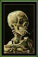 ポスター フィンセント ファン ゴッホ Skull with Burning Cigarette 額装品 ウッドベーシックフレーム(グリーン)