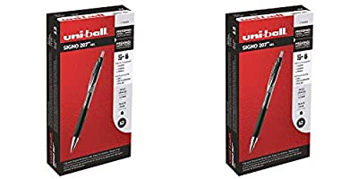 Uni-Ball 1790895 Signo 207 Retractable Gel Pen, Bold Point, Black Ink, 12-Count - 2 Pack