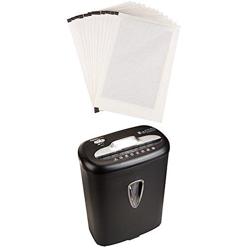 Amazon Basics 8-Sheet Capacity Cross-Cut Paper and Credit Card Shredder, 4.1 Gallon & Sharpening Lubricant Sheets - Pack of 12