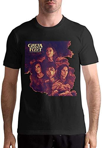 SKQIT Camiseta de Manga Corta para Hombre Music Band Greta-Van-Fleet Black Smoke Rising Trendy Print Design