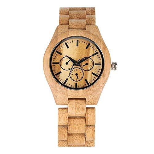 LYMUP Reloj de madera ultraligero reloj de madera para parejas, reloj masculino, pulsera de madera de bambú completa, regalo de cuarzo para hombre y mujer, vapor (color para mujeres)