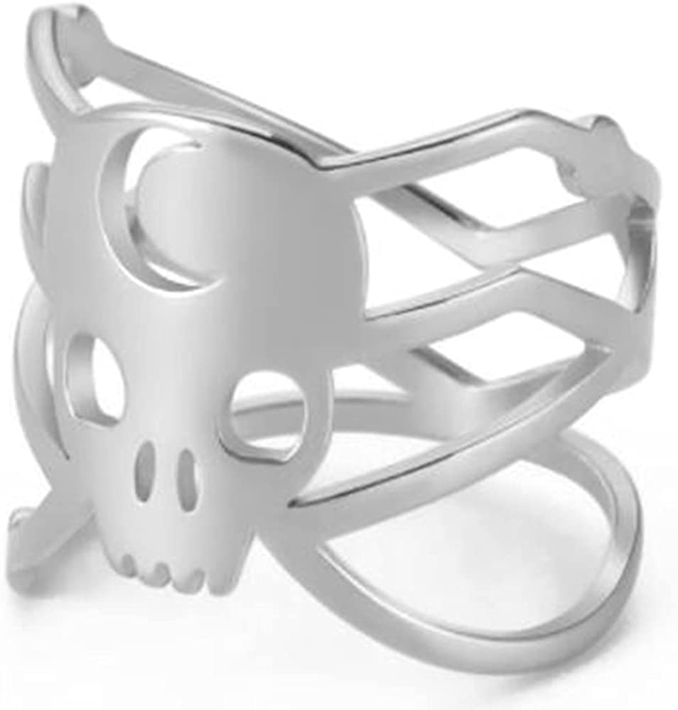 Stainless Steel Braide Knot Gothic Skull Wrap Style Halloween Biker Party Ring