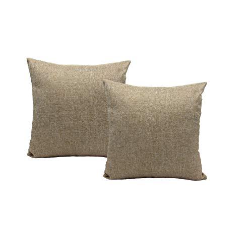 MONTANCHEZZ Pack 2 Fundas de Cojín 45 x 45cm. Colores cálidos y solidos, Estilo Moderno. Throw Pillow Case Funda de Almohada (Marrón Claro)