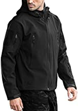 FREE SOLDIER Men's Outdoor Waterproof Soft Shell Hooded Military Tactical Jacket(Black Large/US)