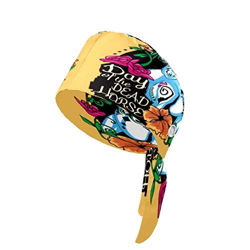 Día de los Muertos Caballo de Trabajo Cap con Botón y Sudadera, Tapas de Cabeza Ajustable Bouffant Sombreros Amarre Sombrero Headwraps Impreso en 3D para Mujeres Hombres