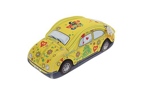 BRISA VW Collection - Volkswagen Coccinelle Voiture Beetle 3D Trousse de maquillage en Néoprène, Sac à cosmétiques, Nécessaire de toilette/culture, Étui, Porte-crayon,Pochette universel (Flower/Jaune)