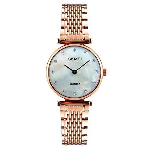 Skmei SK1223RG-MOP - Reloj de pulsera para mujer (esfera de madreperla de oro rosa)