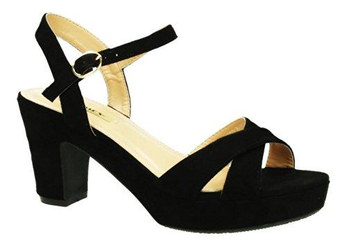 Damen Riemchen Abend Sandaletten High Heels Pumps Slingbacks Velours Peep Toes Blockabsatz Schuhe 150 (37, Schwarz)