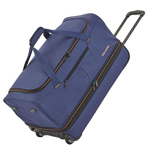 travelite 2-Rad Trolley Reisetasche Gr. S mit Dehnfalte, Gepäck Serie BASICS: Weichgepäck Reisetasche mit Rollen mit extra viel Volumen, 096275-20, 55 cm, 51 Liter (erweiterbar auf 64 Liter), marine