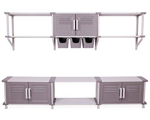Ondis24 Modulares Regalsystem Freedom Wandregal Schwerlastregale mit Türen und Aufbewahrungsboxen