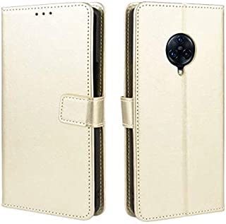 Leather Case Compatible With Vivo Nex 3 Case, Phone Case With Name Card Holder, Magnet Flip, Support Function, Shockproof Protective Case Cover (Color : Gold)