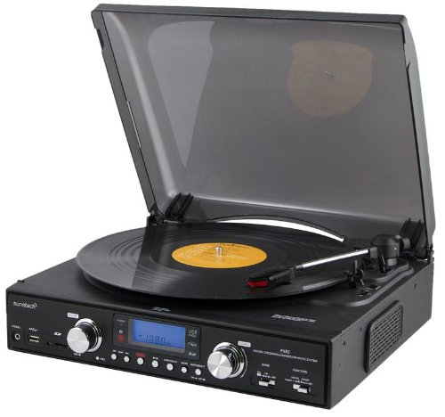 Sunstech PXR2BK - Giradiscos digital, USB, SD, MMC, FM