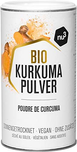 nu3 Bio Kurkuma Pulver - 250 g Pack - 100{85dcda9322ee9b27ca5b1f4f92cf6b950ec2b32cdef3a9961355e18a4ddf1b18} Curkuma Bio Qualität aus Madagaskar - tolles Aroma und intensive Farbe - Ideal für Kurkuma Latte oder als Gewürz zum Kochen - Laktose & Glutenfrei