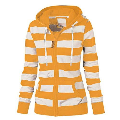 HOTHONG Femmes Hoodies Tops À Capuche Veste Sweatshirt À Rayé Et Zipper Sweat Manteau Slim Jumper Sweat-Shirt Automne Hiver Pullover