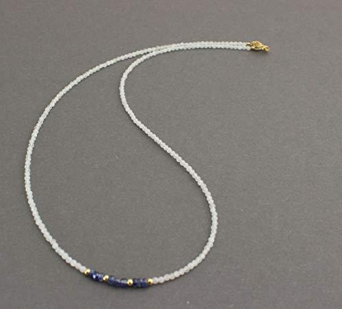 Regenbogen Mondstein kette mit Saphir Blau- Schimmer Feingeschliffen Collier 45 cm