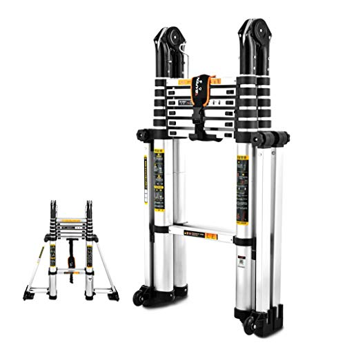 Qiangmei 5.0m Telescopische Ladder, Aluminium Ladder Uitschuifbare Ladder Voor Home Office Loft Gebruik, 12 Stappen Draagbare Max Lading 330lbs (150kg)