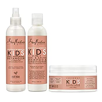 SheaMoisture Kids Shampoo Detangler and Cream For Moisture and Shine Coconut and Hibiscus Sulfate Free Kids Shampoo and Conditioner 3.0 Count