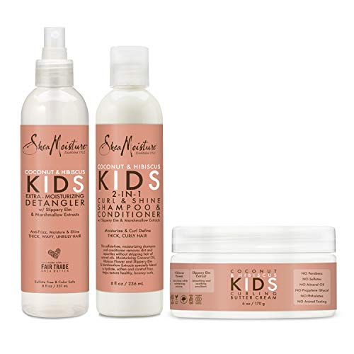 SheaMoisture Kids Shampoo, Detangler and Cream For Moisture and Shine Coconut and Hibiscus Sulfate Free Kids Shampoo and Conditioner, 3.0 Count